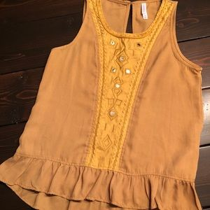 Gorgeous mustard blouse with small mirror details